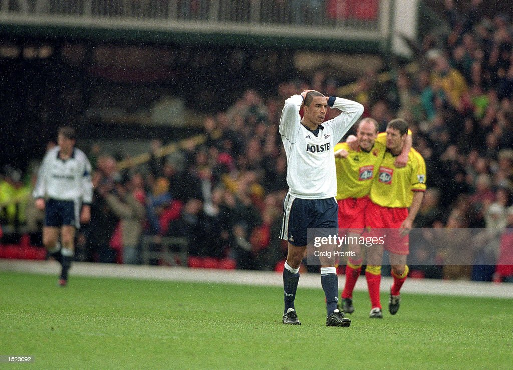 Chris Armstrong of Tottenham Hotspur holds his head after Watford equalise during the FA Carling Premiership match at Vicarage Road in Watford, England. The game ended 1-1. \ Mandatory Credit: Craig Prentis /Allsport
