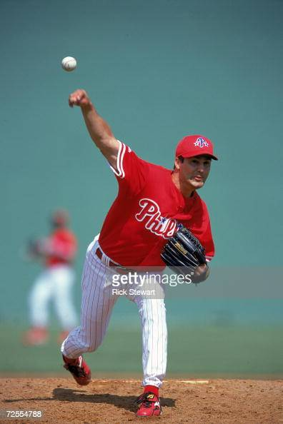 Chris Brock of the Philadelphia Phillies winds back to pitch the ball during the Spring Training Game against the Detroit Tigers at Jack Russell...