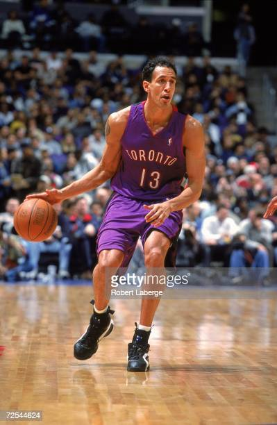 Doug Christie of the Toronto Raptors moves with the ball during the game against the Los Angeles Clippers at Staples Center in Los Angeles California...