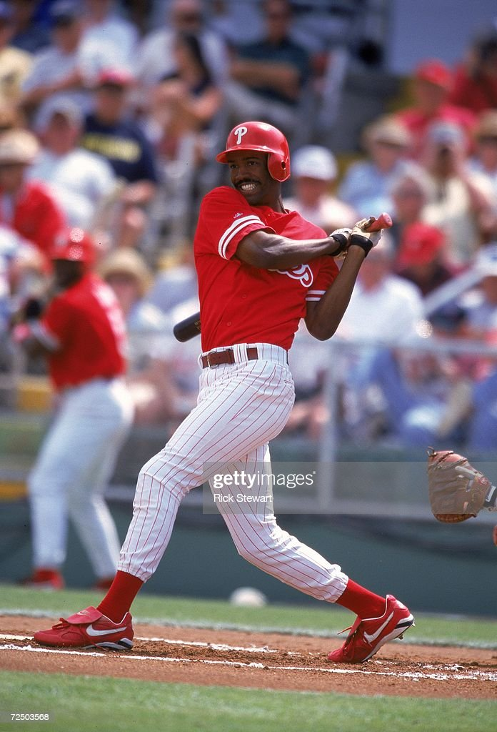 Doug Glanville of the Philadelphia Phillies swings at the ball during the Spring Training Game against the Detroit Tigers at Jack Russell Memorial...