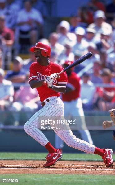 Doug Granville of the Philadelphia Phillies swings at the ball during the Spring Training Game against the Cleveland Indians at the Jack Russell...