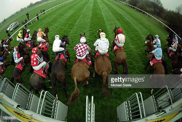 Horses leave the stalls for the first race of the flat season at Doncaster England Mandatory Credit Michael Steele /Allsport