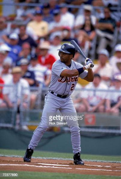 Luis Polonia of the Detroit Tigers stands ready at bat during the Spring Training Game against the Philadelphia Phillies at Jack Russell Memorial...