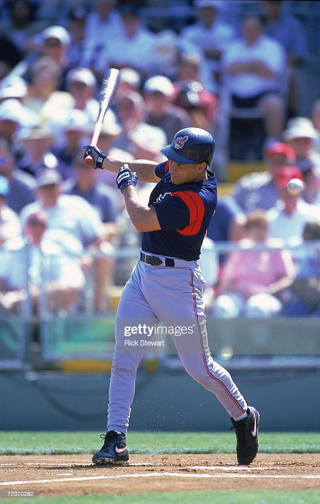Omar Vizquel of the Cleveland Indians swings at the ball during the Spring Training Game against the Philadelphia Phillies at the Jack Russell...