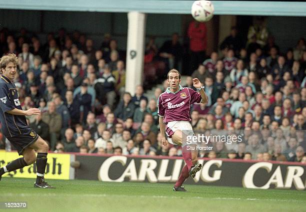 Paolo Di Canio of West Ham United scores the first goal during the FA Carling Premiership match against Wimbledon at Upton Park in London West Ham...