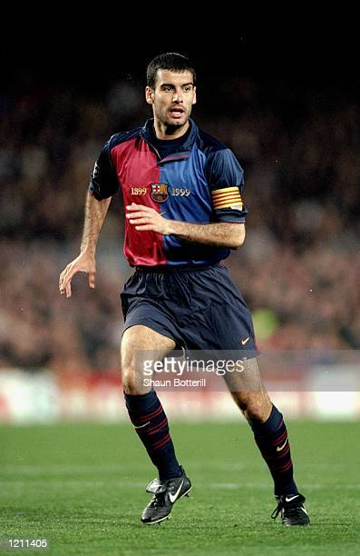 Pep Guardiola of Barcelona during the UEFA Champions League group A match against Porto at the Nou Camp in Barcelona Spain Barcelona won 42 Mandatory...