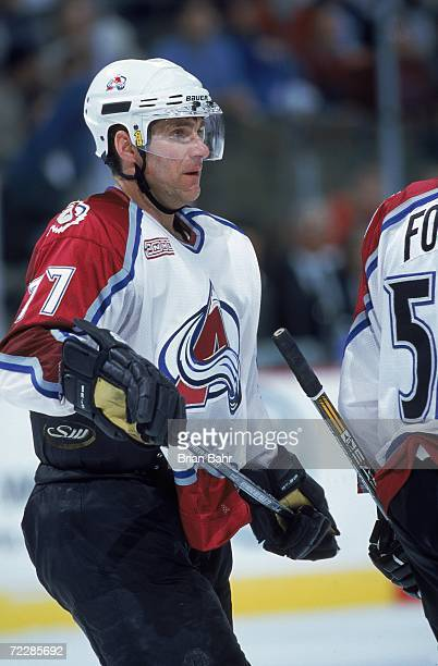 Ray Bourque of the Colorado Avalanche skates on the ice during a game against the Chicago Blackhawks at the Pepsi Center in Denver ColoradoThe...