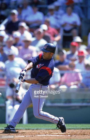 Roberto Alomar of the Cleveland Indians swings at the ball during the Spring Training Game against the Philadelphia Phillies at the Jack Russell...