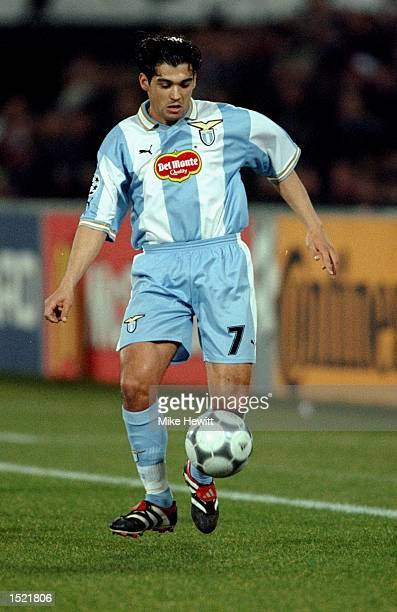 Sergio Conceicao of Lazio on the ball during the UEFA Champions League game between Feyenoord and Lazio at the De Kuip Stadium in Rotterdam The match...