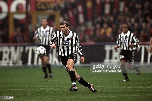 Zinedine Zidane of Juventus during the Italian Serie A game between Milan and Juventus at the San Siro stadium in Milan Italy The game finished 20 to...