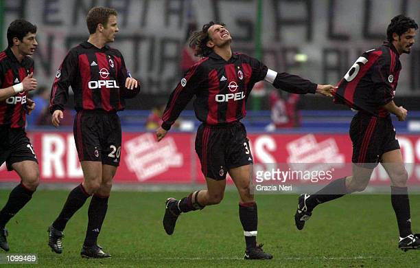 AC Milan celebrate a goal during the Serie A 21st Round League match between AC Milan and Parma played at the Giuseppe Meazza San Siro Stadium Milan...