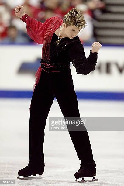 Alexei Yagudin of Russia during the short program of the men's competition at the 2001 World Figure Skating Championships at the GM Place in...