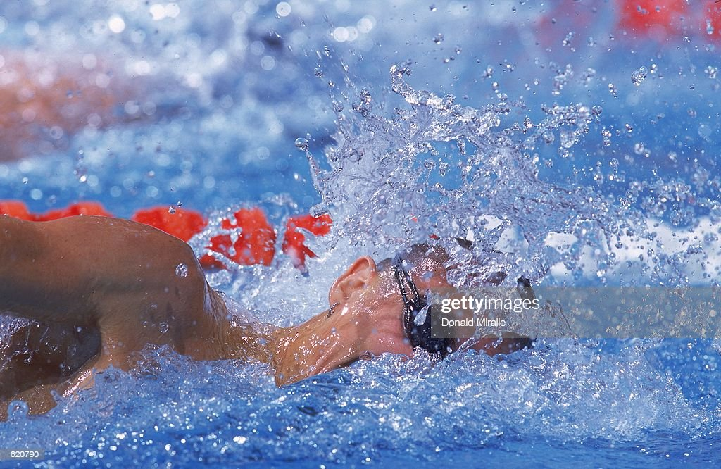Anthony Iruin takes a breath during the Phillips 66 U.S. Championship Swimming Nationals at Texas University in Austin, Texas.Mandatory Credit: Donald Miralle /Allsport