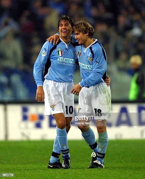 Crespo and Nedved of Lazio in action during the Serie A 23rd Round League match between Lazio and Juventus played at the Olimpic Stadium Rome Italy...