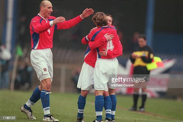 Czech Republic teammates Jan Koller celebrates the winning goal with Pavel Nedved during the World Cup 2002 Group Three Qualifying match against...