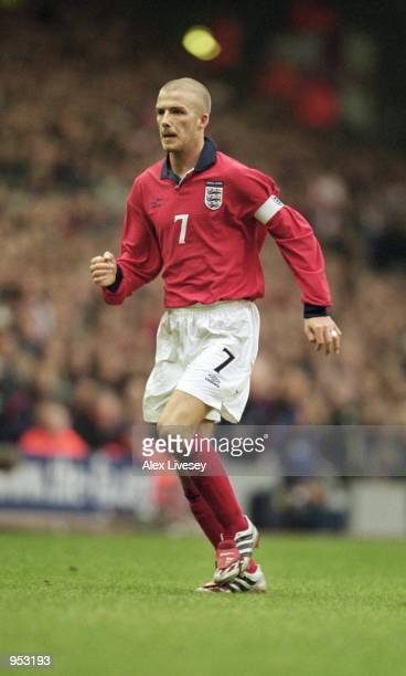 David Beckham of England in action during the World Cup 2002 Group Nine Qualifying match against Finland played at Anfield in Liverpool England...