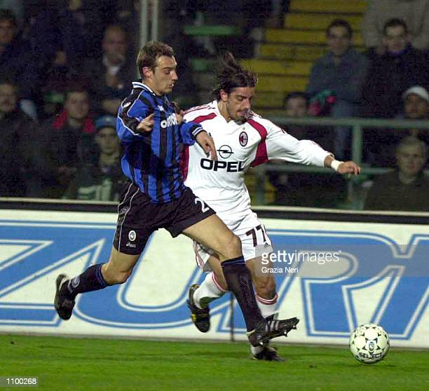 Francesco Coco of AC Milan and Cristiano Zenoni of Atalanta in action during a SERIE A 22th Round League match between Atalanta and AC Milan played...