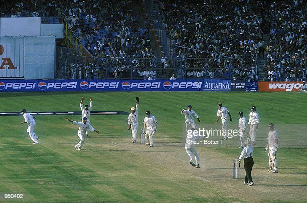 Harbhajan Singh traps Glenn McGrath of Australia for an lbw decision to win the Second Test match for India played at the Eden Gardens in Calcutta...