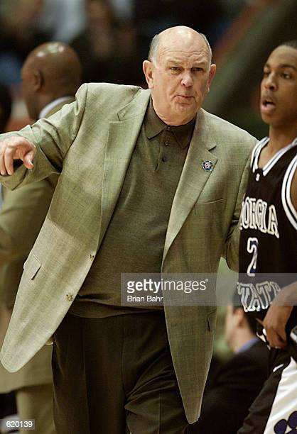 Head coach Lefty Driesell of the Georgia State Panthers gives directions to Lamont McIntosh against the Maryland Terrapins during the second round of...