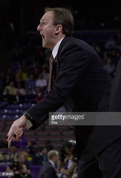 Head Coach Thad Matta of Butler directs his players against Wake Forest during the first round of the NCAA Mens College Basketball Championship at...