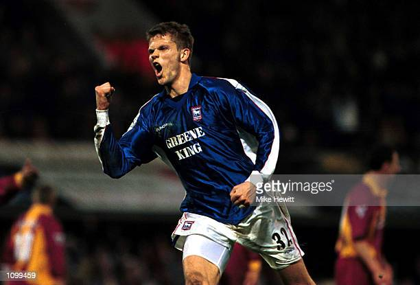 Hermann Hreidarsson of Ipswich celebrates Ipswich's third goal during the match between Ipswich Town and Bradford City in the FA Carling Premiership...