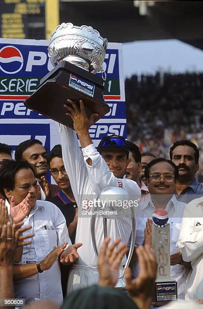 Indian captain Saurav Ganguly holds aloft the Series Winners trophy after the Third Test match against Australia played at the Chidambaram Stadium in...