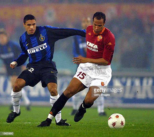 Jonathan Zebina of Roma and Ivan Ramiro Cordoba of Inter Milan in action during the SERIE A 21st Round League match between Roma and Inter Milan...