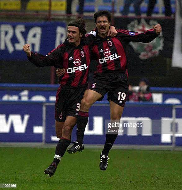 Jos Chamot and Paolo Maldini of AC Milan celebrating a goal during the Serie A 21st Round League match between AC Milan and Parma played at the...