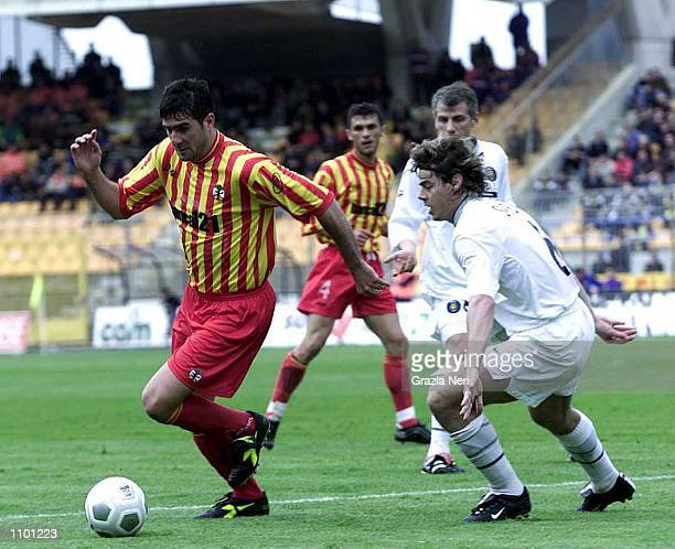 Lucarelli of Lecce and Michele Serena of Inter Milan in action during the Serie A 23rd Round League match between Lecce and Inter Milan played at the...