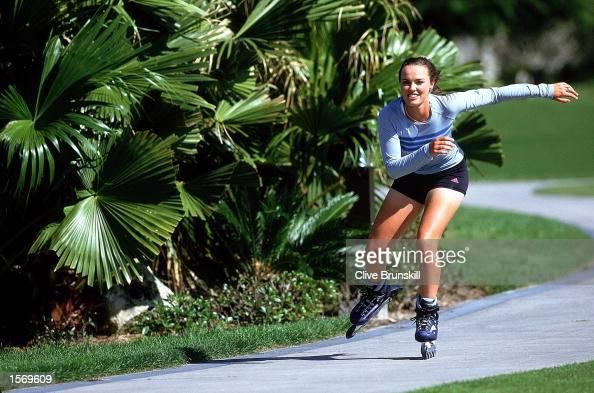 Martina Hingis of Switzerland rollerblades at her home in Florida USA Mandatory Credit Clive Brunskill/ALLSPORT