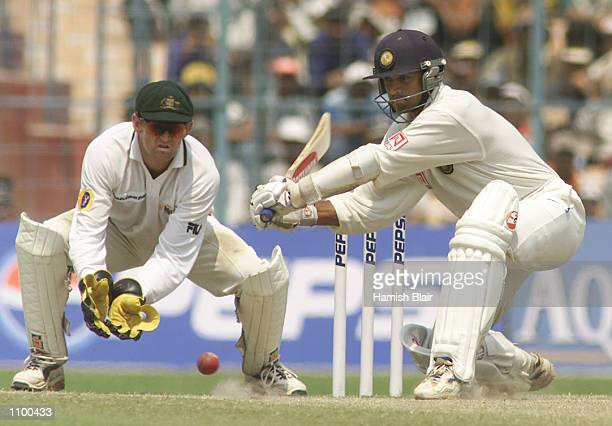 Rahul Dravid of India hits out during day four of the 2nd Test between India and Australia played at Eden Gardens Calcutta India X DIGITAL IMAGE...