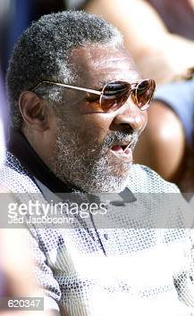 Richard Williams watches his daughter Serena Williams of the USA against Kim Clijsters of Belgium during the final of the Tennis Masters Series at...