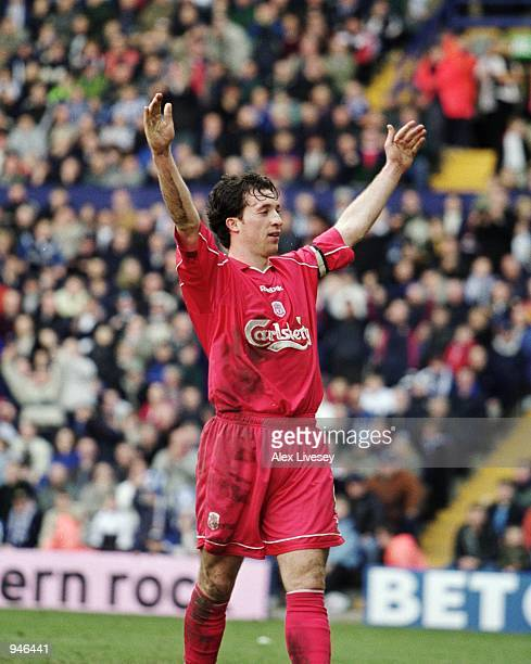 Robbie Fowler of Liverpool celebrates scoring from the penalty spot during the AXA Sponsored FA Cup Quarter Finals match against Tranmere Rovers...