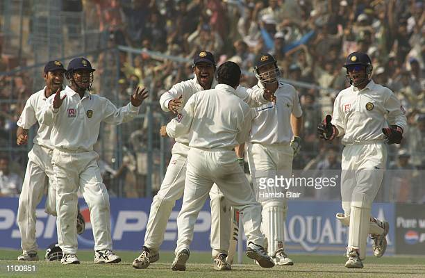 Sachin Tendulkar of India claims the wicket of Adam Gilchrist of Australia LBW during day five of the 2nd Test between India and Australia played at...