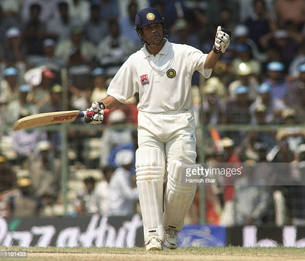 Sachin Tendulkar of India is annoyed by spectators moving behind the bowlers arm during day three of the third test between India and Australia at...