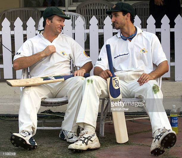 Steve Waugh and Jason Gillespie of Australia reflect on the ninth wicket partnership after day two of the 2nd Test between India and Australia played...