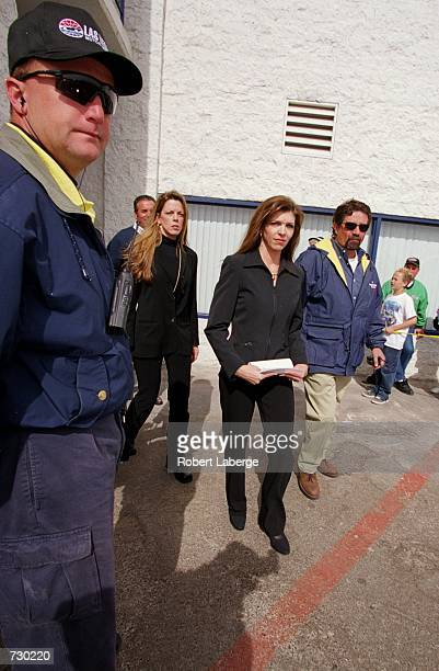 Teresa Earnhardt comes out of the building during the UAW DiamlerChrysler 400 part of the NASCAR Winston Cup Series at the Las Vegas Motor Speedway...