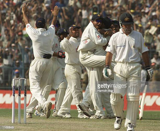 The Indians celebrate the wicket of Ricky Ponting of Australia caught by SS Das off the bowlng of Harbhajan Singh during day five of the 2nd Test...