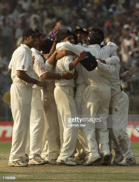 The Indians celebrate the win after day five of the 2nd Test between India and Australia played at Eden Gardens Calcutta India India won by 171 runs...