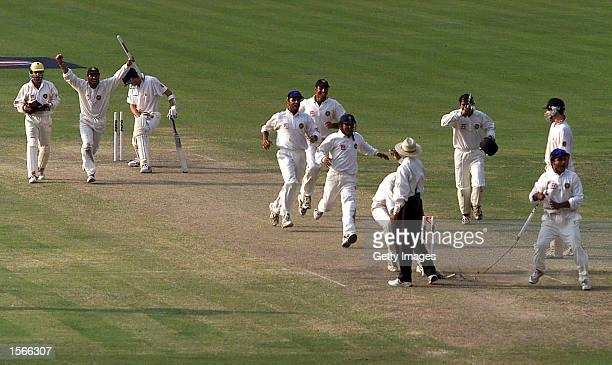 The Indians celebrate the win as the final wicket falls during day five of the 2nd Test between India and Australia played at Eden Gardens Calcutta...