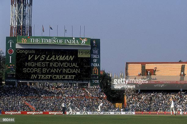 The scoreboard congratulates VVS Laxman of India for the highest individual score by any Indian in test cricket after he surpassed the previous...