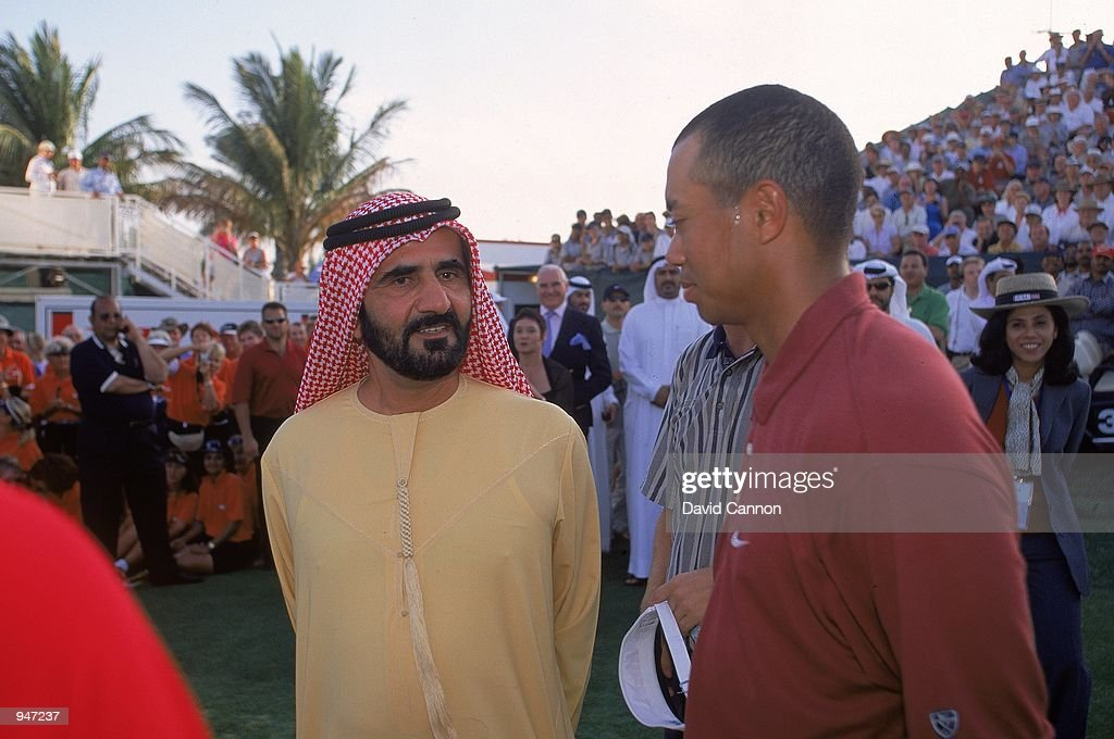 Tiger Woods of the USA after the Dubai Desert Classic at the Emirates GC in Dubai. \ Mandatory Credit: David Cannon /Allsport