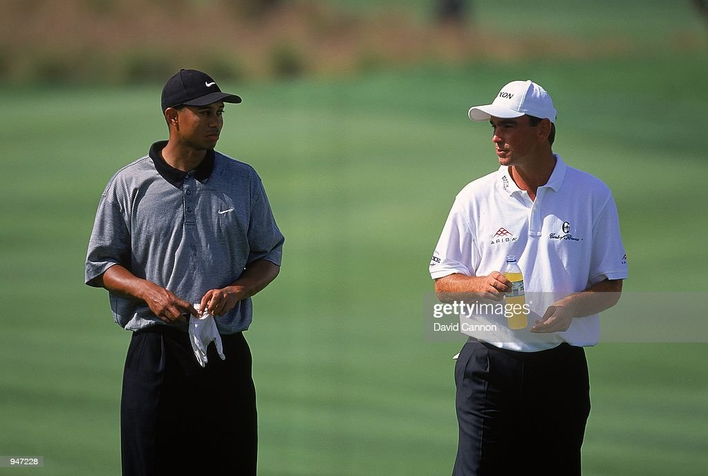 Tiger Woods of the USA and Thomas Bjorn of Denmark during the Dubai Desert Classic at the Emirates GC in Dubai. \ Mandatory Credit: David Cannon /Allsport