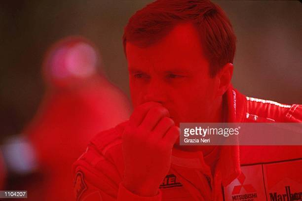 Tommi Makinen sitting in the Mitsubishi service area during the World Rally Championships in Catalunya Spain Mandatory Credit Grazia Neri/ALLSPORT