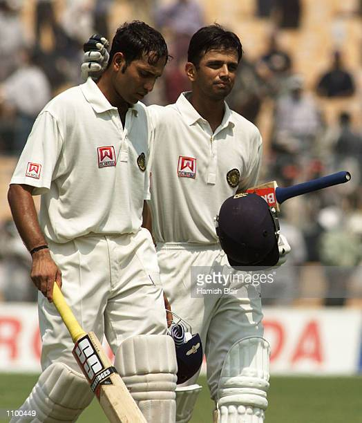 VVS Laxman and Rahul Dravid of India leave the field at lunch during day four of the 2nd Test between India and Australia played at Eden Gardens...