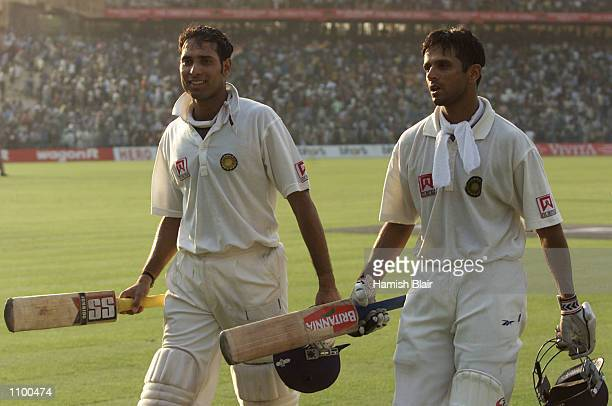 VVS Laxman and Rahul Dravid of India leave the field at the end of play after batting the entire day after day four of the 2nd Test between India and...