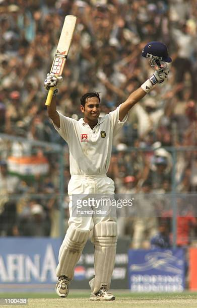 VVS Laxman of India celebrates after reaching 200 during day four of the 2nd Test between India and Australia played at Eden Gardens Calcutta India X...