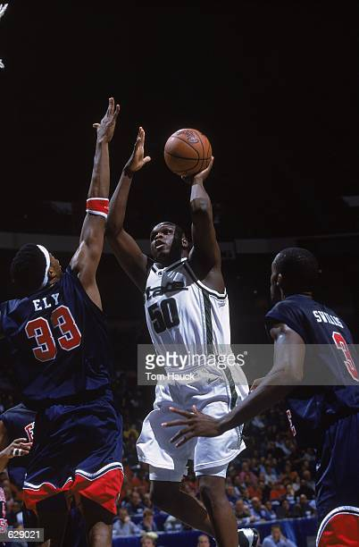 Zach Randolph of the Michigan State Spartans takes a shot during the game against the Fresno State Bulldogs at the Pyramid Arena in Memphis Tennessee...