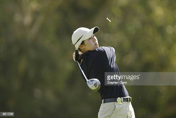 Aree Song Wongluekiet hits a tee shot during the second round of the Kraft Nabisco Championship at Mission Hills Country Club in Rancho Mirage...