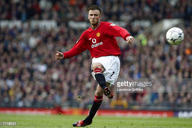 David Beckham of Manchester United takes a trademark freekick during the FA Barclaycard Premiership match between Manchester United and Middlesbrough...